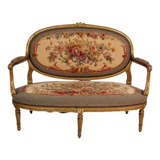 Gilt Carved Aubusson Settee