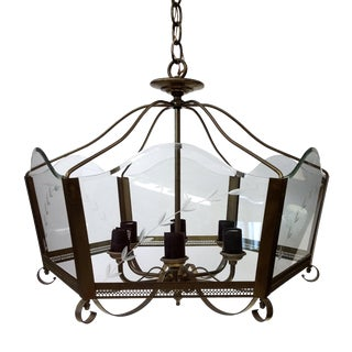 Vintage Brass & Etched Glass Hexagonal Chandelier