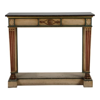 Venetian Console With Original Paint and Dark Marble Top