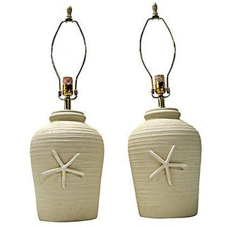 Ceramic Starfish Table Lamps - A Pair