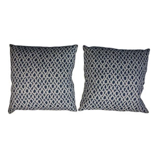 White & Blue Circle Pattern Pillows - Pair