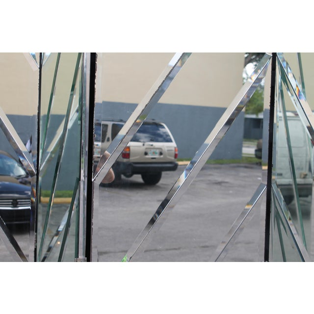 Mid-Century Modern Beveled Mirror Screen - Image 4 of 11