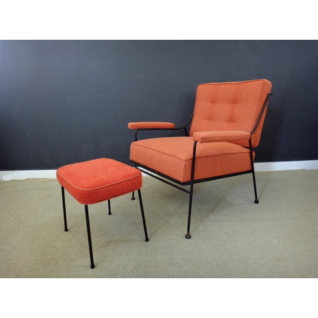 Image of Mid Century Upholstered Chair and Ottoman