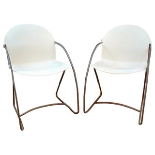 Vintage Cantilever White & Chrome Chairs - A Pair