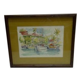 "Limited Numbered (27/200) Signed Framed Print - ""Pioneer Inn Harbor"" by George Allan"