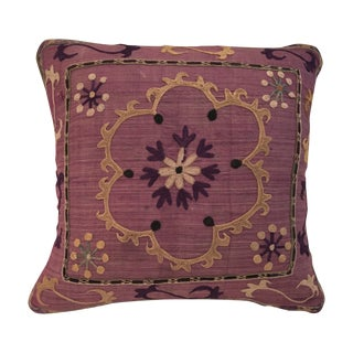 Antique Embroidered Textile Pillow
