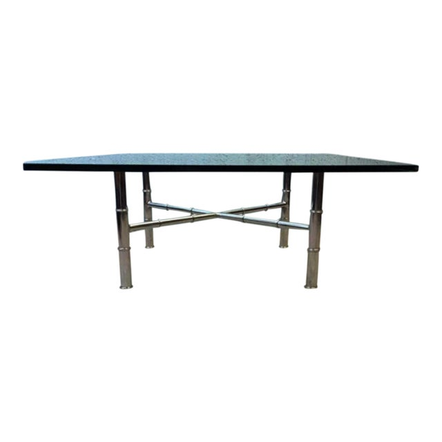 Chrome Faux Bamboo Coffee Table - Image 1 of 6
