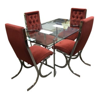 Vintage Mid-Century Chrome & Glass Dining Set