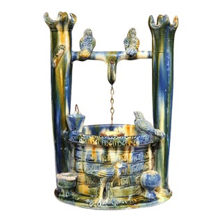 Late 19th Century French Hand-Painted Barbotine Well With Birds Sculpture
