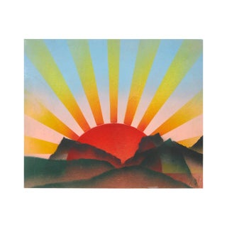 Radiant Red Sun Amid Mountaintops Colorful Minimalist Mid-Century Oil Painting