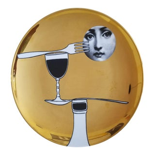 Fornasetti Gold Tema E Variazioni Plate, Number 136, the iconic image of Lina Cavalieri