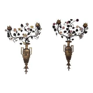 Antique Neoclassical Style Porcelain & Bronze Candle Sconces - A Pair