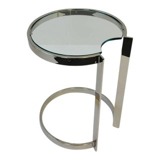 Polished Nickel and Glass Occasional Table in the Style of Milo Baughman