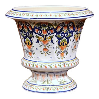 Early 20th Century, French Hand-Painted Jardinière Planter from Rouen