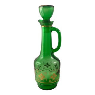 Mid-Century Empoli Emerald Green Glass Wine Decanter With Stopper and Gold Trim