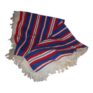 Old Red White & Blue Table Cloth & Fringes