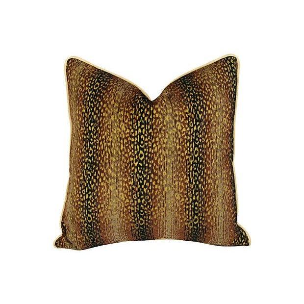 Designer Big Cat Velvet & Chenille Pillows - Pair - Image 4 of 8
