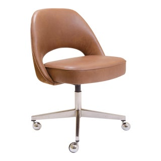Saarinen for Knoll Executive Armless Chair in Saddle Leather & Suede, Swivel Base