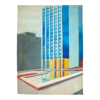 Midcentury Modern Architectural Watercolor Painting