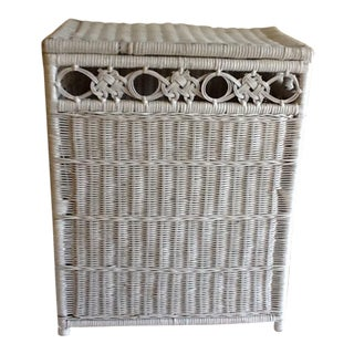 Vintage White Wicker Hamper Storage