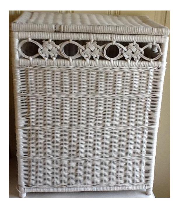 vintage white wicker hamper storage