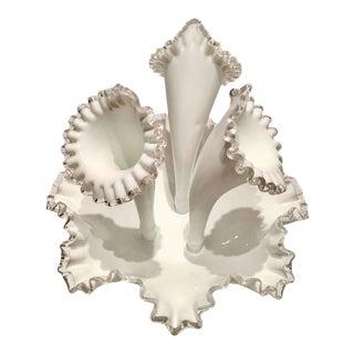 """Mid-Century Fenton Milk Glass """"Silver Crest"""" Epergne Center Vase"""