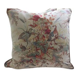 Schumacher Pillows in Autumn Quail Meadow Linen - a Pair