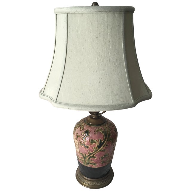 Chinoiserie Pink Pottery Lamp-Bronze Base-Celadon Silk Shade - Image 1 of 5