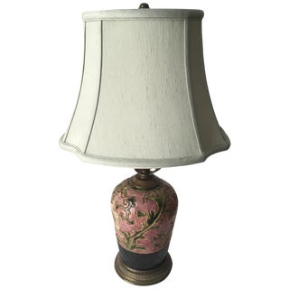 Asian Pottery Lamp Bronze Base-Silk Shade