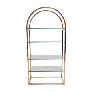 Milo Baughman-Style Arched Chrome & Glass Etagere