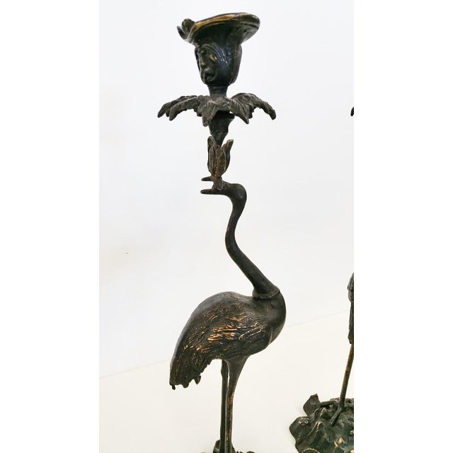 Image of Crane Candlesticks in Bronze - A Pair