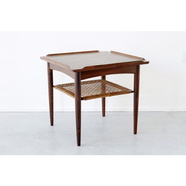 Poul Jensen Rosewood & Cane Side Table - Image 4 of 7
