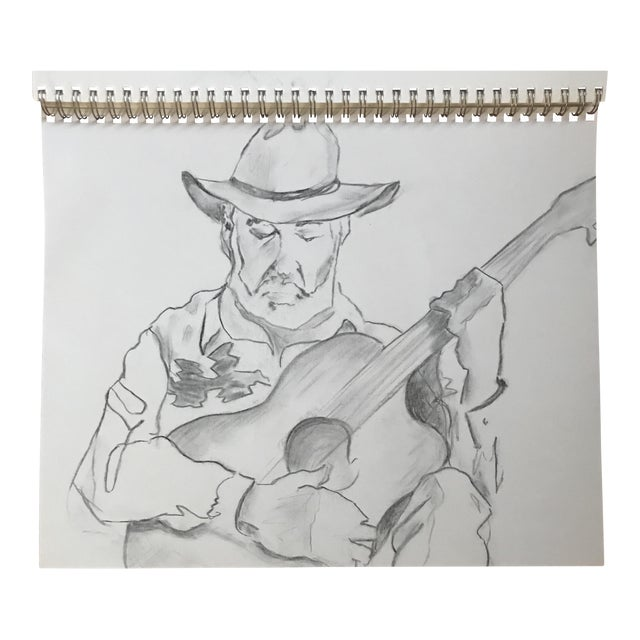 The Guitarist 1 - Drawing - Image 1 of 3