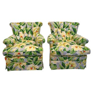 Mid-Century Floral Print Button Tufted Chairs - A Pair