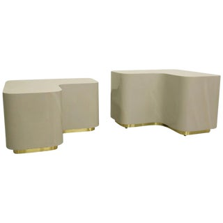 Tiered Brass Plinth Based Side Tables- A Pair