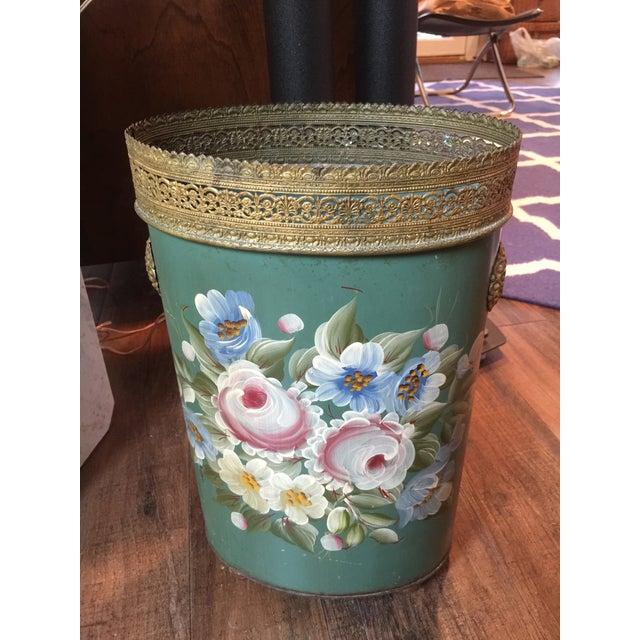 Vintage Tole Waste Basket with Gold Metal Trim - Image 2 of 10
