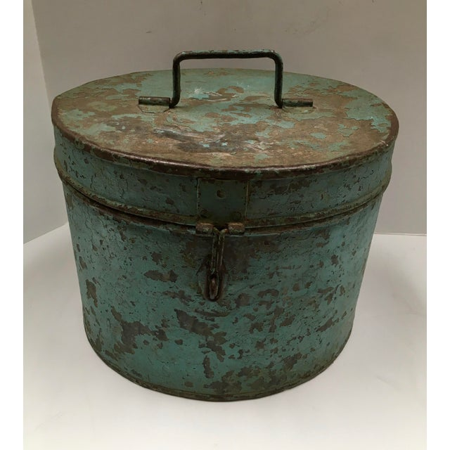 Vintage Painted Metal Oval Hat Box - Image 8 of 8