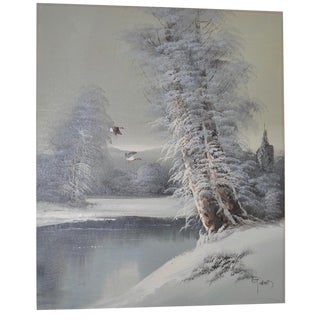 G. Wood Winter Landscape Oil Painting