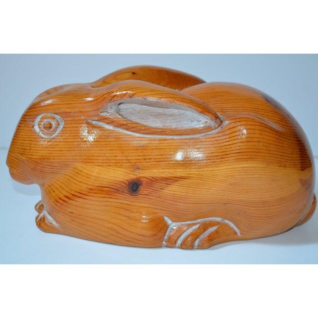 Sarreid Vintage Hand Carved Wooden Rabbit - Image 2 of 8