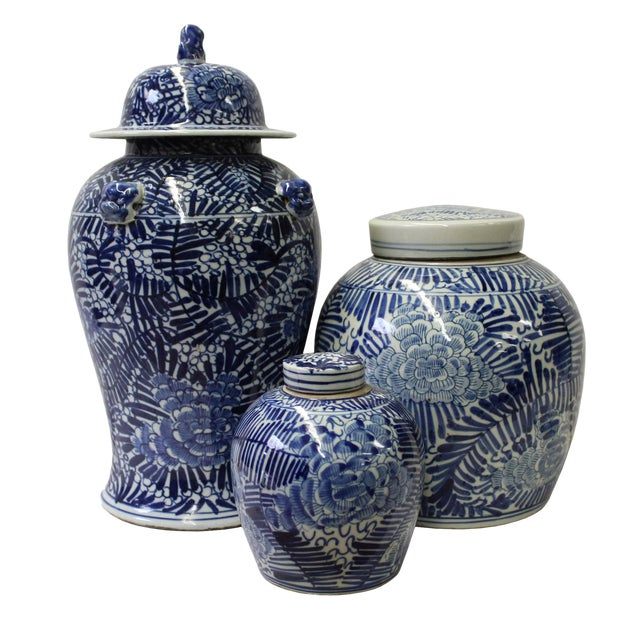 Chinese Set of 3 Blue White Abstract Flower Temple Ginger Jars - Image 1 of 5
