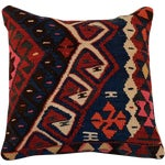 Image of Vintage Bohemian Blue Square Handmade Kilim Pillow