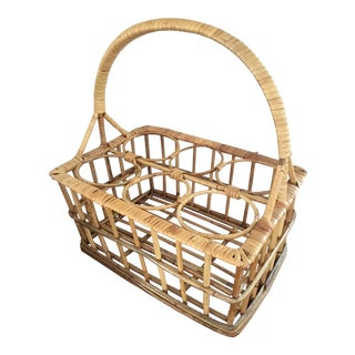 Vintage Rattan Wine Caddy Basket