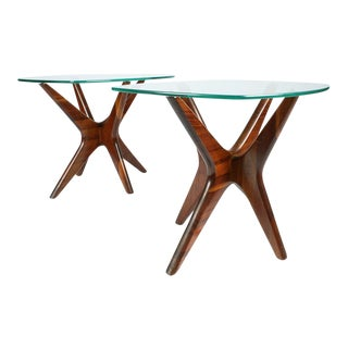 "Adrian Pearsall Walnut ""Jacks"" Lamp Tables - a Pair"