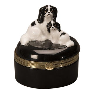 Vintage English Enameled Box of a King Charles Spaniel