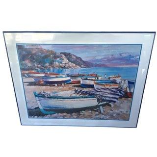 """Vintage Italian Coast Print """"Amalfi Boats"""" Large Painting Print 40 X 30"""