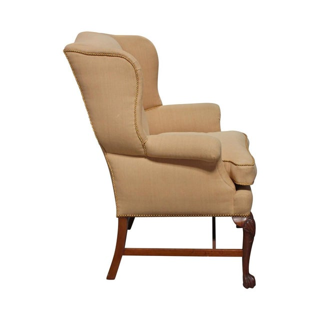Vintage Linen Wingback Chair - Image 2 of 9