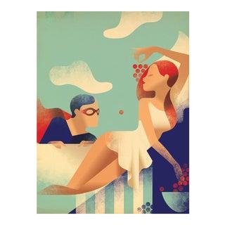 Modern Danish Poster, Superhero and woman