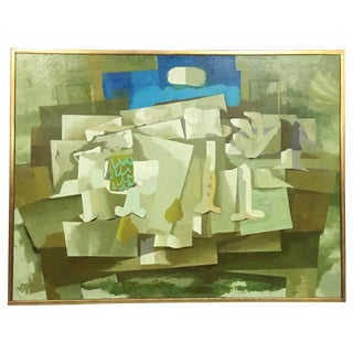Mid-Century Green & Tan Cubist Oil Painting