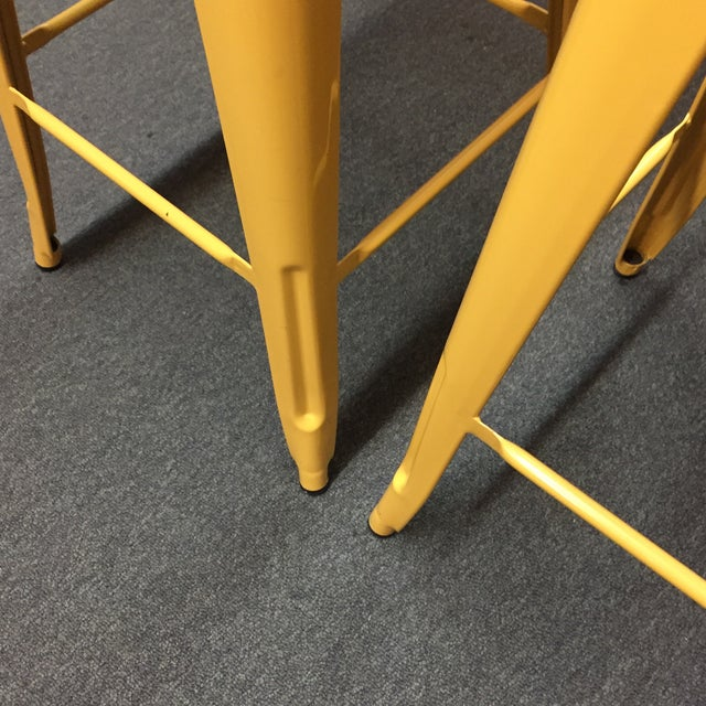 Yellow Painted Metal Bar Stools - A Pair - Image 7 of 7