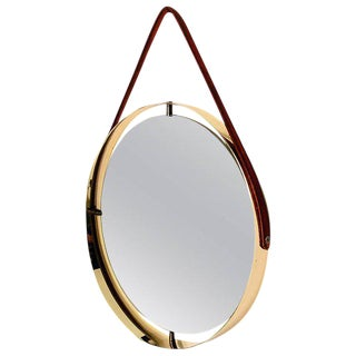 AMBIANIC Studio Round Mirror with Leather Strap